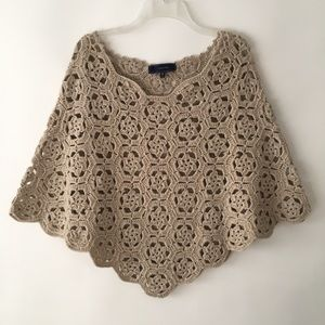 Lumiere Taupe Crocheted Poncho